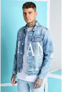 Regular Fit Jeansjacke mit MAN-Print, Eisblau