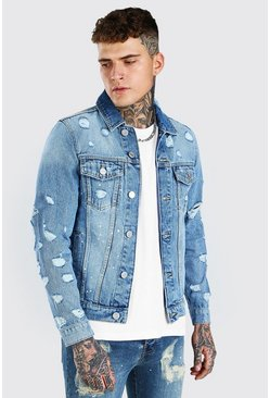 Mid blue MAN Official Regular Fit Back Print Denim Jacket