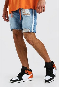 Mid blue Loose Fit Jean Shorts With Side Tape