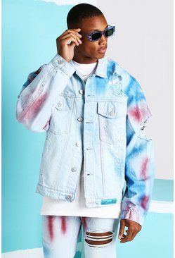 Light blue Oversized Spray Paint Denim Jacket