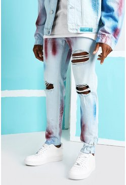 Light blue Skinny Rigid Busted Knee Jeans With Paint