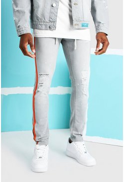 Grey Skinny Fit Jean With Busted Knees And Side Tape