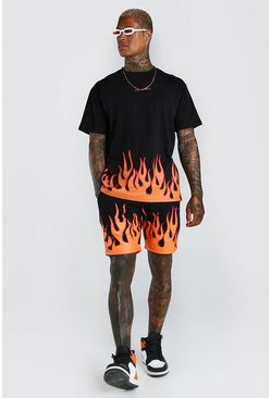 Black Official MAN Flame Print T-Shirt And Short Set
