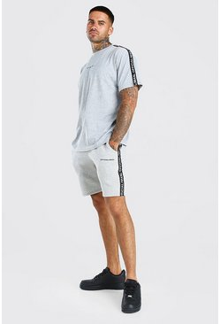 Ensemble t-shirt et short avec bande MAN Official, Gris chiné