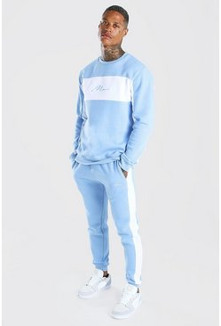 Powder blue Man Signature Colour Block Sweater Tracksuit