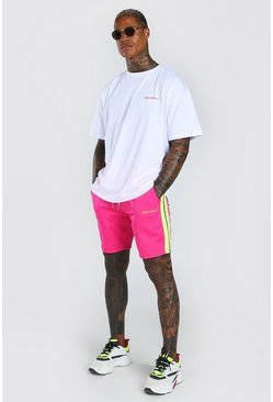 Pink Oversized Printed T-Shirt And Short Set With Tape