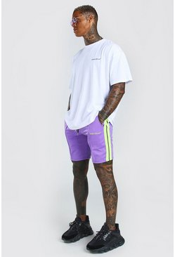 Oversized Printed T-Shirt And Short Set With Tape, Purple