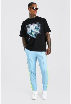 Oversized Butterfly Print T-Shirt And Jogger Set, Blue