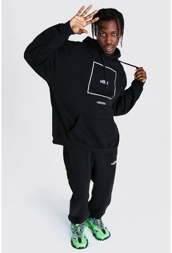 Black Oversized Offcl Box Print Hooded Tracksuit