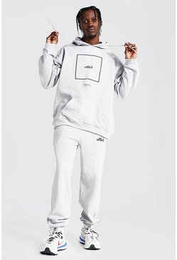 Grey marl Oversized Offcl Box Print Hooded Tracksuit