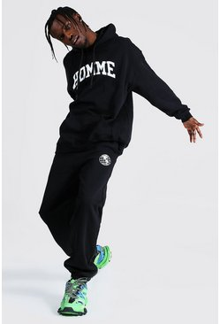 Black Oversized Homme Print Hooded Tracksuit