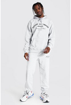 Grey marl Man Limited Edition Print Hooded Tracksuit