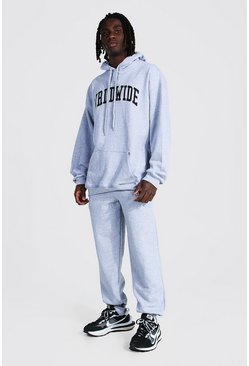 Grey marl Oversized Worldwide Print Hooded Tracksuit