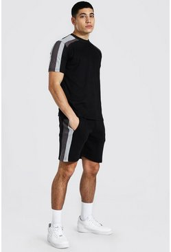 Black Contrast Panel T-shirt and Short