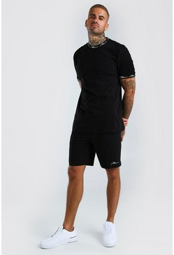 MAN Signature Printed T-Shirt And Short Set, Black