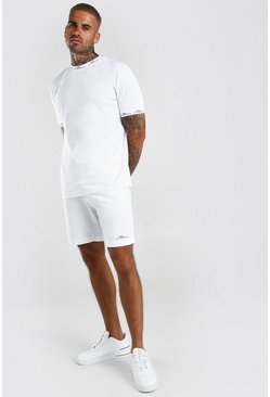 MAN Signature Printed T-Shirt And Short Set, White