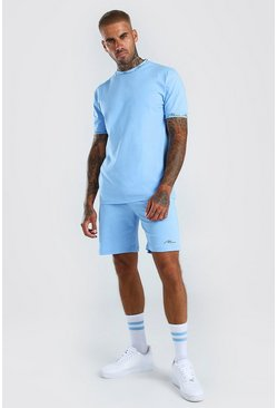 MAN Signature Printed T-Shirt And Short Set, Powder blue