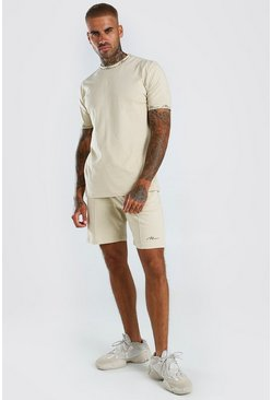 MAN Signature T-Shirt And Pintuck Short Set, Stone