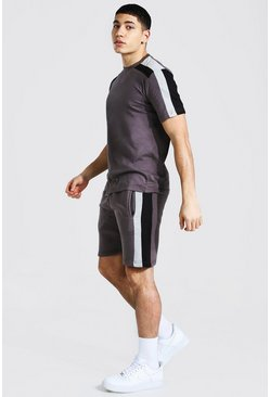 Charcoal Contrast Panel T-shirt and Short