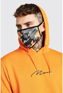 Orange MAN Script All Over Camo Fashion Mask