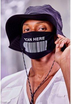 Black Scan Here Fashion Mask