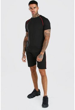 Black Contrast Piping T-Shirt And Short Set