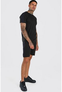 Black T-Shirt And Short Set With Side Panel