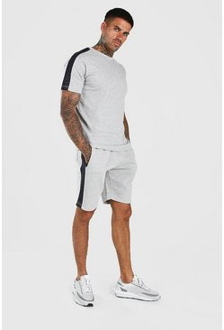Grey T-Shirt And Short Set With Side Panel