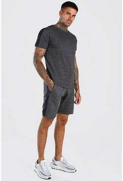 Charcoal T-Shirt And Short Set With Side Panel