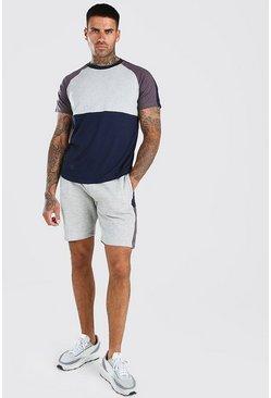 Grey Colour Block T-Shirt And Short Set