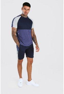 Navy Colour Block T-Shirt And Short Set