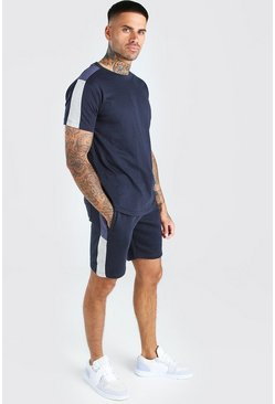 Navy Colour Block Side Panel T-Shirt And Short Set