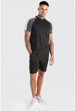 Black Colour Block T-Shirt And Short Set