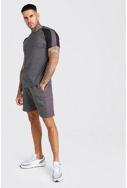 Charcoal Colour Block T-Shirt And Short Set