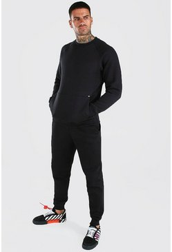 Black Sweater Tracksuit With Kangaroo Pocket