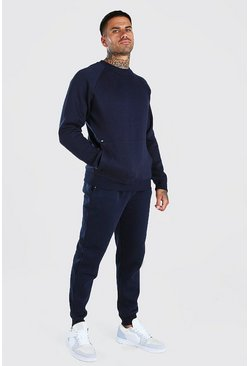 Sweater Tracksuit With Kangaroo Pocket, Navy