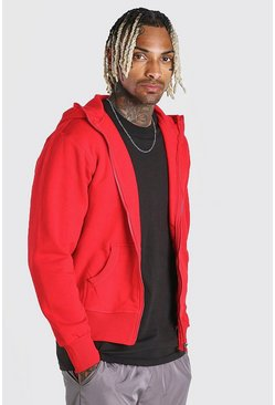 Red Basic Zip Through Hoodie