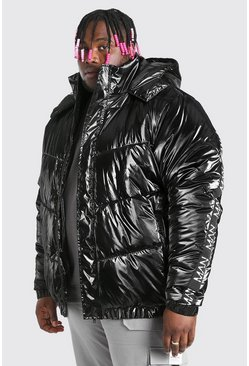 Black Plus Size MAN Dash High Shine Hooded Puffer