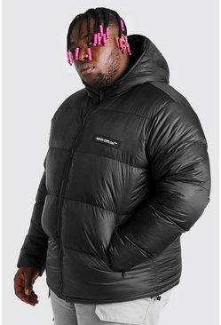 Black Big & Tall MAN Branded Hand Filled Puffer