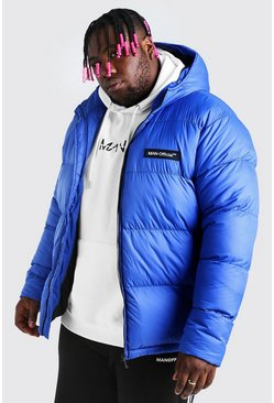 Blue Plus Size MAN Branded Hand Filled Puffer