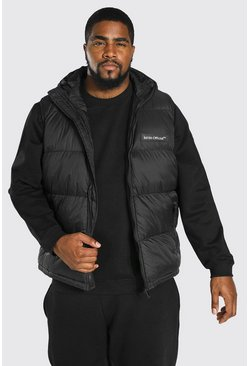 Big & Tall Wattiertes MAN Gilet, Schwarz