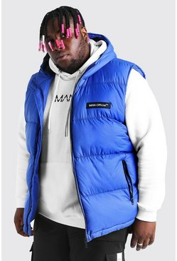 Blue Plus Size MAN Branded Padded Gilet