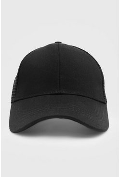 Black Trucker Cap With Mesh Back
