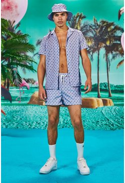 Short Sleeve Dogtooth Print Shirt And Short Set, Blue