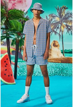 Short Sleeve Dogtooth Print Shirt And Short Set, Navy
