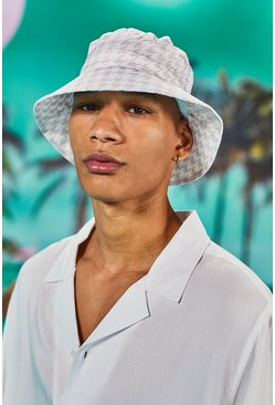 Stone Dogtooth Print Bucket Hat