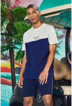 Man Dogtooth Printed Panel T-Shirt & Short Set, Navy