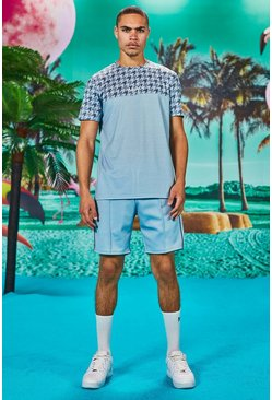 Man Dogtooth Printed Panel T-Shirt & Short Set, Blue
