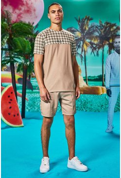 Man Dogtooth Printed Panel T-Shirt & Short Set, Taupe