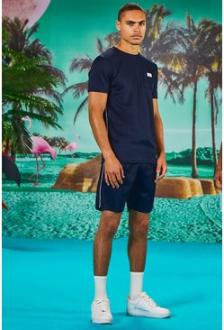 Man Muscle Fit T-Shirt & Short Set With Piping, Navy